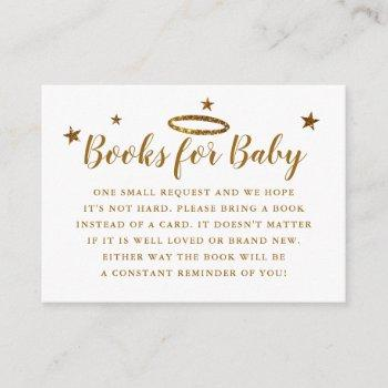 Heaven Sent Baby Shower Book Request Gold Enclosure Card