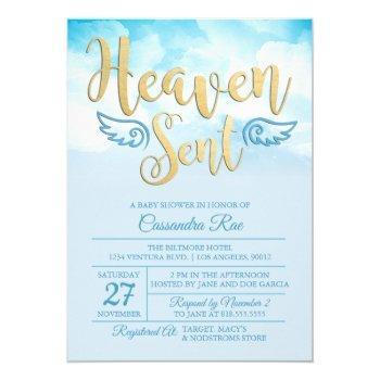 Heaven Sent Baby Shower Invitation