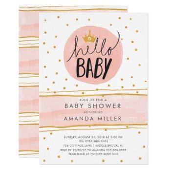Hello Baby · Modern Girls Babyshower Invitation