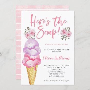 Here's The Scoop Ice Cream Baby Shower Invitation