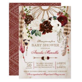 Holiday Boho Dreamcatcher Rustic Baby Shower Invitation