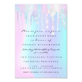Holographic Drips Pink Unicorn Sweet 16th Mermaid Invitation