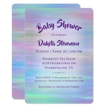 Holographic Whimsy | Pastel Rainbow Baby Shower Invitation