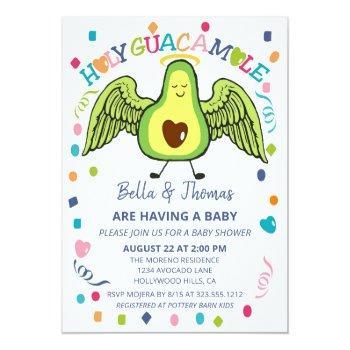 Holy Guacamole Avocado Baby Shower Fiesta Invitation