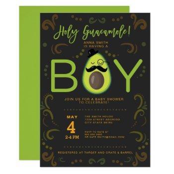 Holy Guacamole Boy Taco Baby Shower Invitation