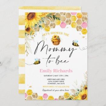 Honey Bee Baby Shower Sunflower Mommy To Bee Invitation