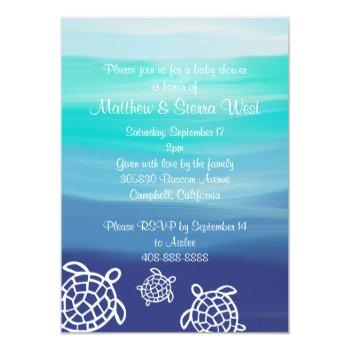 Honu Sea Turtles Couples Baby Shower Invitation