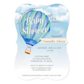 Hot Air Balloon Baby Shower - Blue & Green Boy Invitation