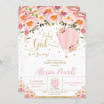 Hot Air Balloon Baby Shower Blush Floral Baby Girl
