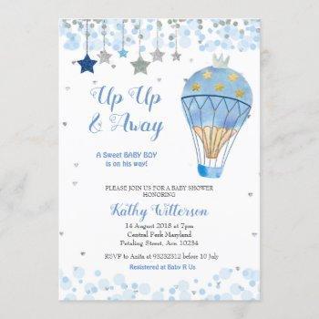 Hot Air Balloon Baby Shower Glitter Blue Star
