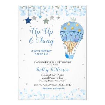 Hot Air Balloon Baby Shower Glitter Blue Star Invitation