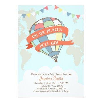 Hot Air Balloon Baby Shower Invitation Blue Boy
