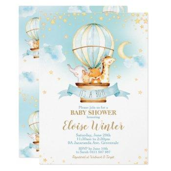 Hot Air Balloon Baby Shower Jungle Animals Boy Invitation