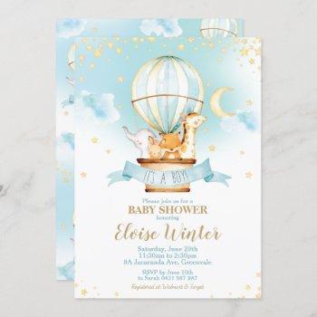 Hot Air Balloon Baby Shower Jungle Animals Boy Invitation