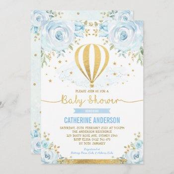 Hot Air Balloon Baby Shower Pastel Blue Floral
