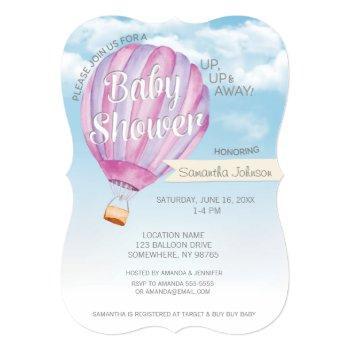 Hot Air Balloon Baby Shower - Pink & Purple Girl Invitation