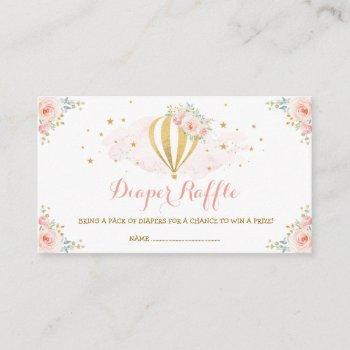 Hot Air Balloon Blush Floral Baby Diaper Raffle Enclosure Card