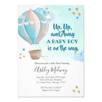 Hot Air Balloon Boy Baby Shower Invitation