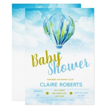 Hot Air Balloon Boy Baby Shower Invitations