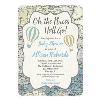 Hot Air Balloon Boy Baby Shower Invitations Blue