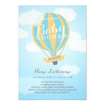 Hot Air Balloon Boy Blue Yellow Baby Shower Invite