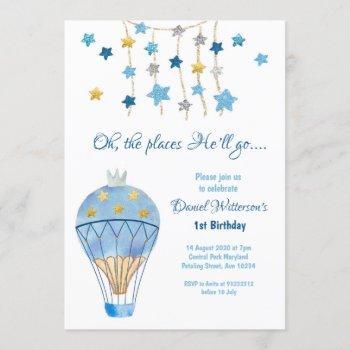 Hot Air Balloon Glitter Star Birthday For Boys