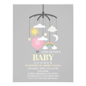 Hot Air Balloon Mobile Girl Modern Baby Shower Invitation