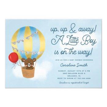 Hot Air Balloon Teddy Bear Blue Baby Shower Invitation