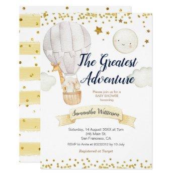 Hot Air Balloon The Greatest Adventure Baby Shower Invitation