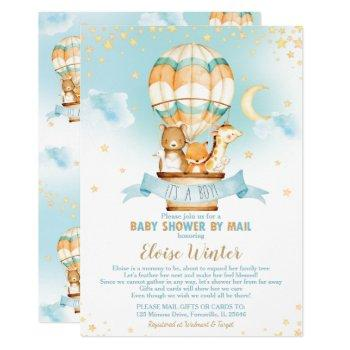 Hot Air Balloon Virtual Baby Boy Shower By Mail Invitation