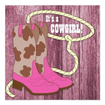 Hot Pink Barn Wood Cowgirl Baby Shower Invitation