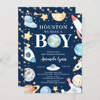 Houston We Have A Boy Outer Space Baby Shower Invi