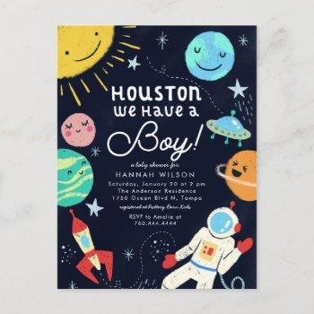 Houston We Have A Boy Space Baby Shower Invitation Postcard