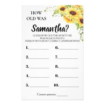 How Old Was She Baby Shower Bilingual Game Card