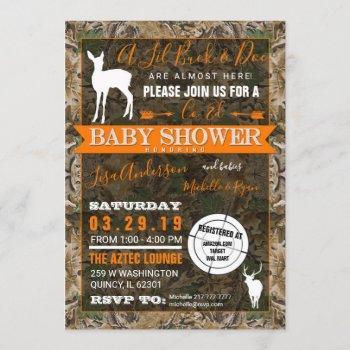Hunting Camo Co-ed Baby Shower Buck And Doe