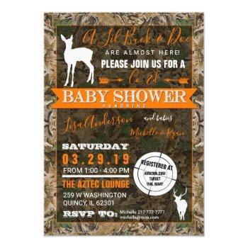 Hunting Camo Co-ed Baby Shower Buck And Doe Invitation