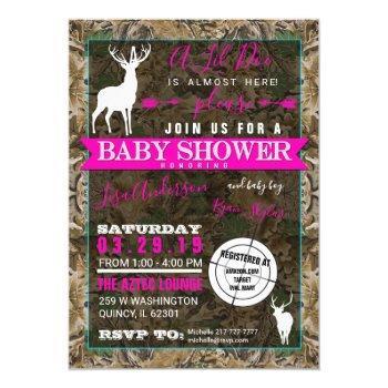 Hunting Camo Girl Baby Shower Doe Invitation