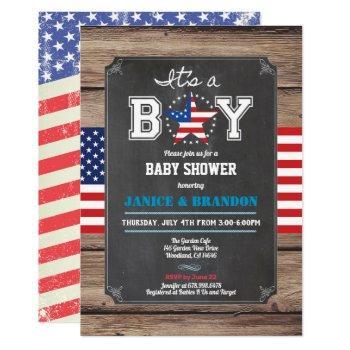 Independence Day Baby Boy Shower Chalkboard Invitation