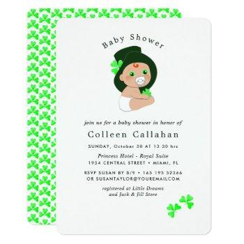 Irish Baby Leprechaun Lucky Shamrock Baby Shower Invitation