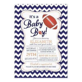 It's A Baby Boy Football Baby Shower Invitation