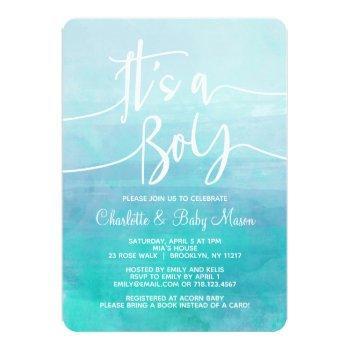 It's A Boy Baby Shower Invitation Blue Watercolor