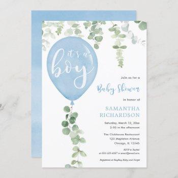 It's A Boy Blue Balloon Eucalyptus Baby Shower Invitation