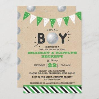 It's A Boy! Golf Themed Co-ed Baby Shower Invitation