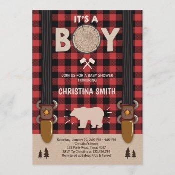 It's A Boy Lumberjack Baby Shower Invitation Boy