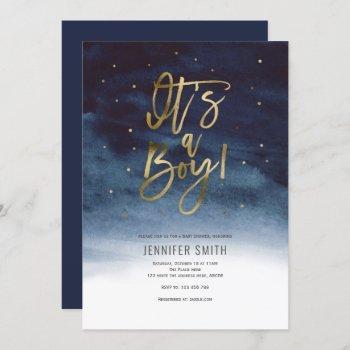 Its A Boy, Modern, Gold, Baby Shower Invitation