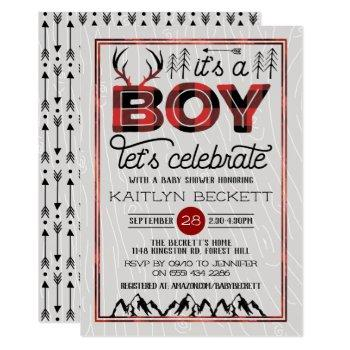 It's A Boy! Rustic Plaid Lumberjack Baby Shower Invitation