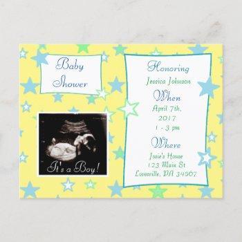 It's A Boy,  Ultrasound Pic Baby Shower Invitation