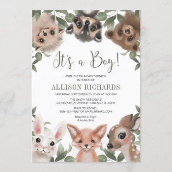 It's A Boy Woodland Animals Forest Baby Shower Invitation