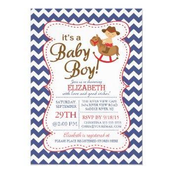 It's A Cowboy Boys Baby Shower Invitation