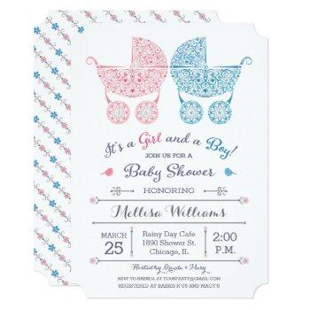 It's A Girl And A Boy! Twins Baby Shower Invite